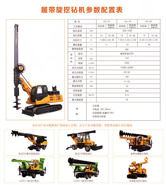方杆旋挖钻机技术性能参数图片
