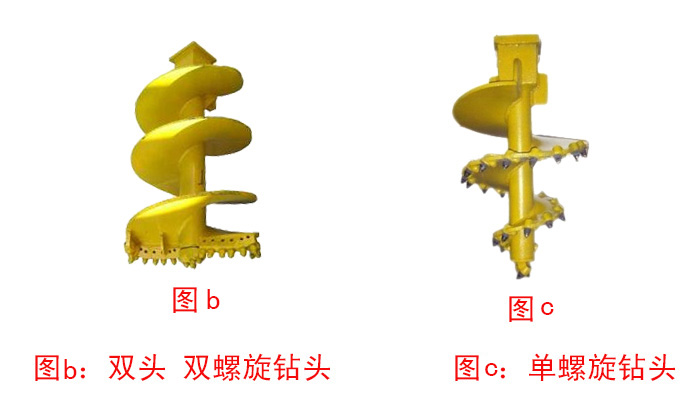 双头双螺旋钻头和单螺旋钻头图片